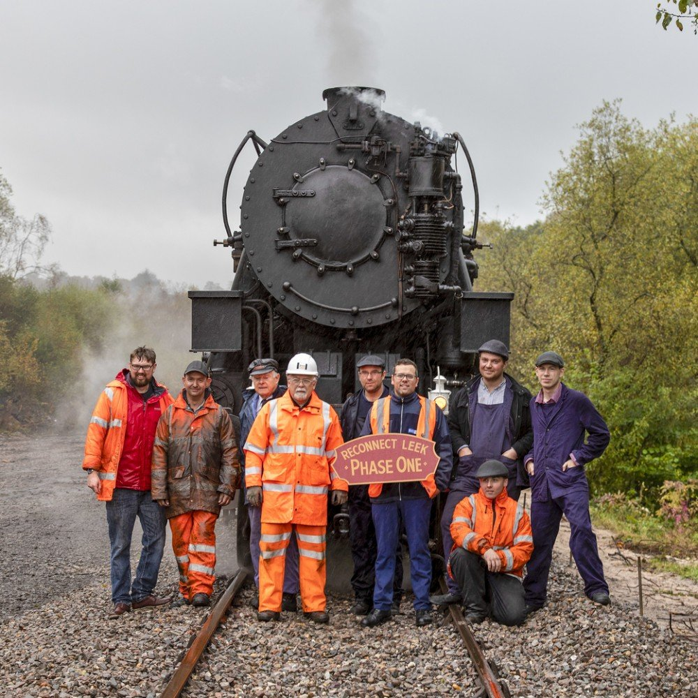 Just some of the team of volunteers stand proud at the end of the extension with 5197 and her train